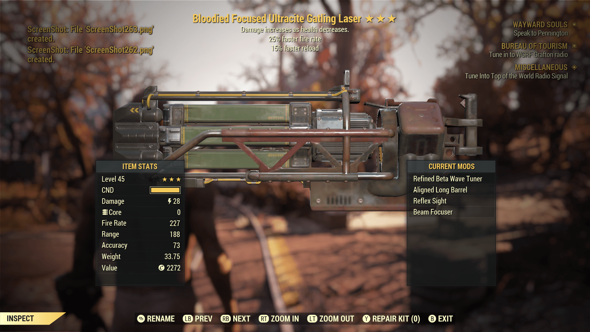 Bloodied Focused Ultracite Gatling Laser[25% faster fire rate][15% faster reload]