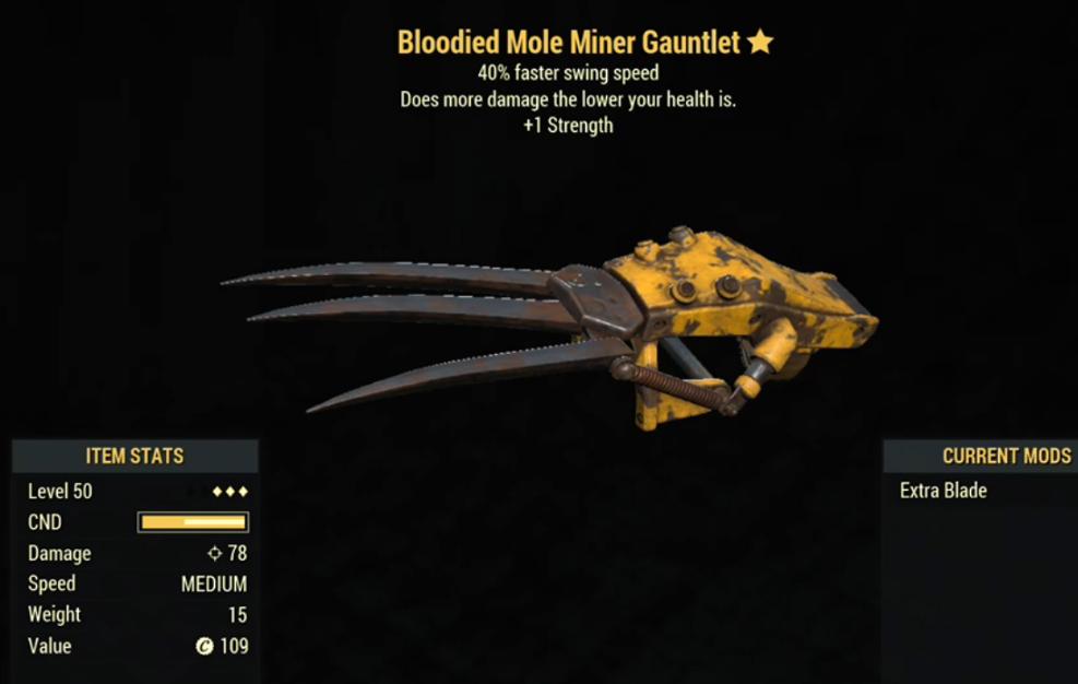 Bloodied Mole Miner Gauntlet- Level 50