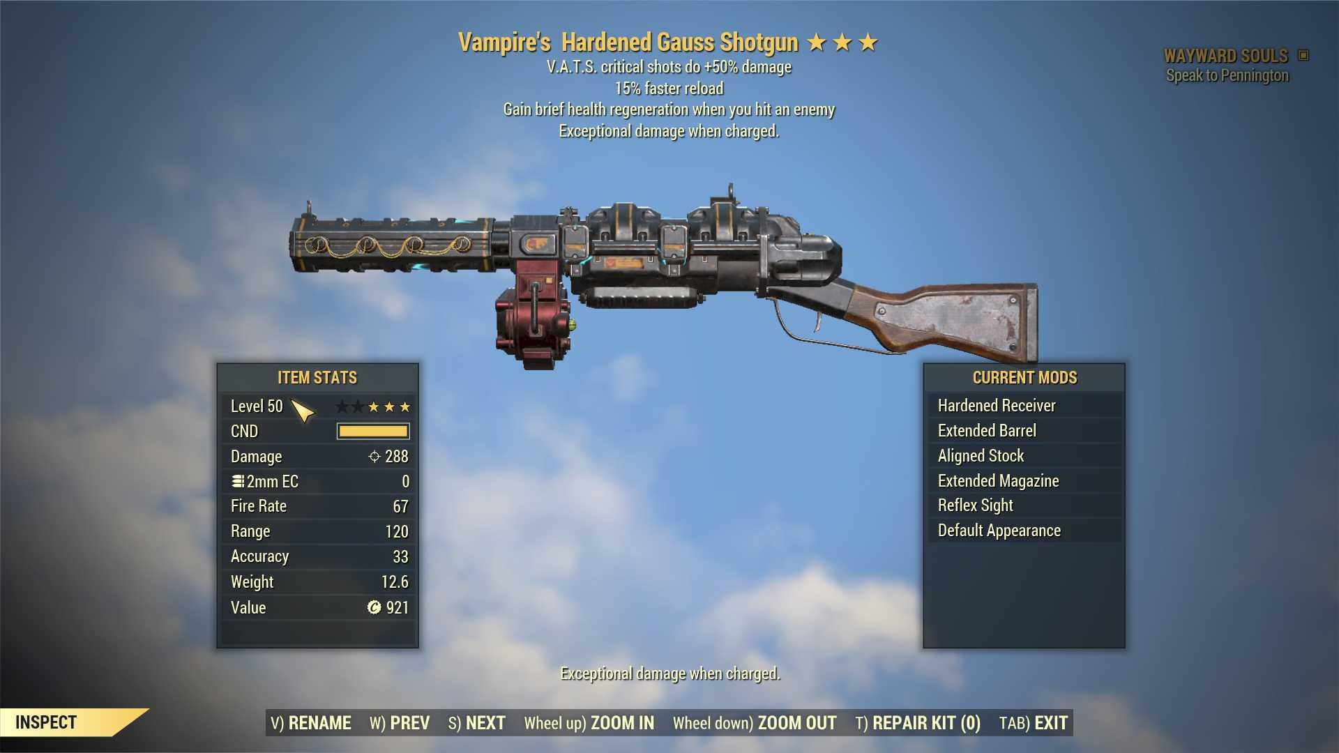 Vampire's Gauss Shotgun (+50% critical damage, 15% faster reload) FULL MODDED [Wastelanders]