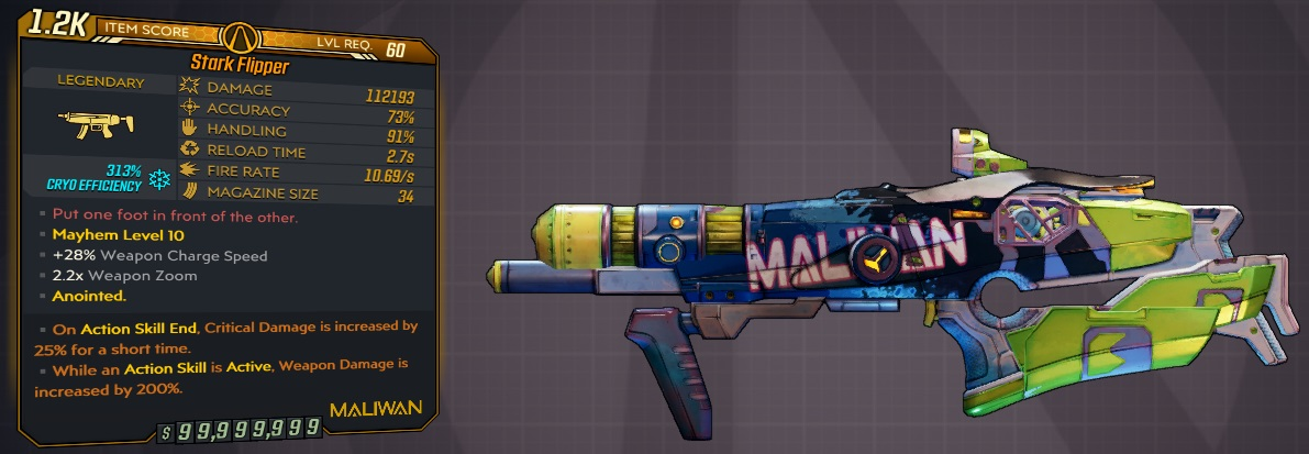 ★★★[PC] M10 - FLIPPER 112000 DMG (313% CRYO/+350k FIRE DMG) - NEAR INSTANT CHARGE - ANOINTED x2★★★