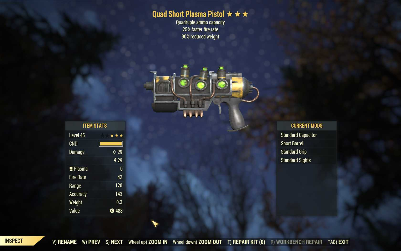 Quad Plasma rifle (25% faster fire rate, 90% reduced weight)