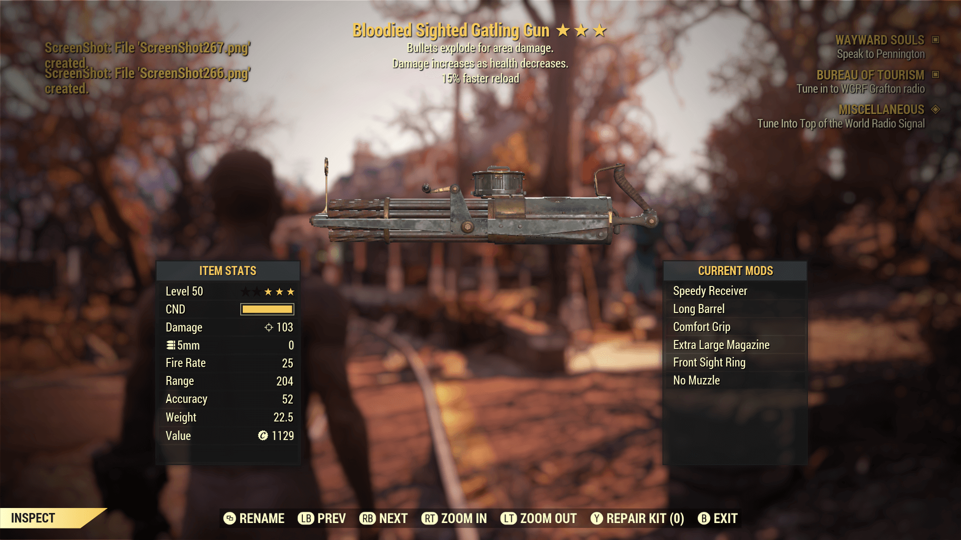 Bloodied Sighted Gatling Gun[15% faster reload]