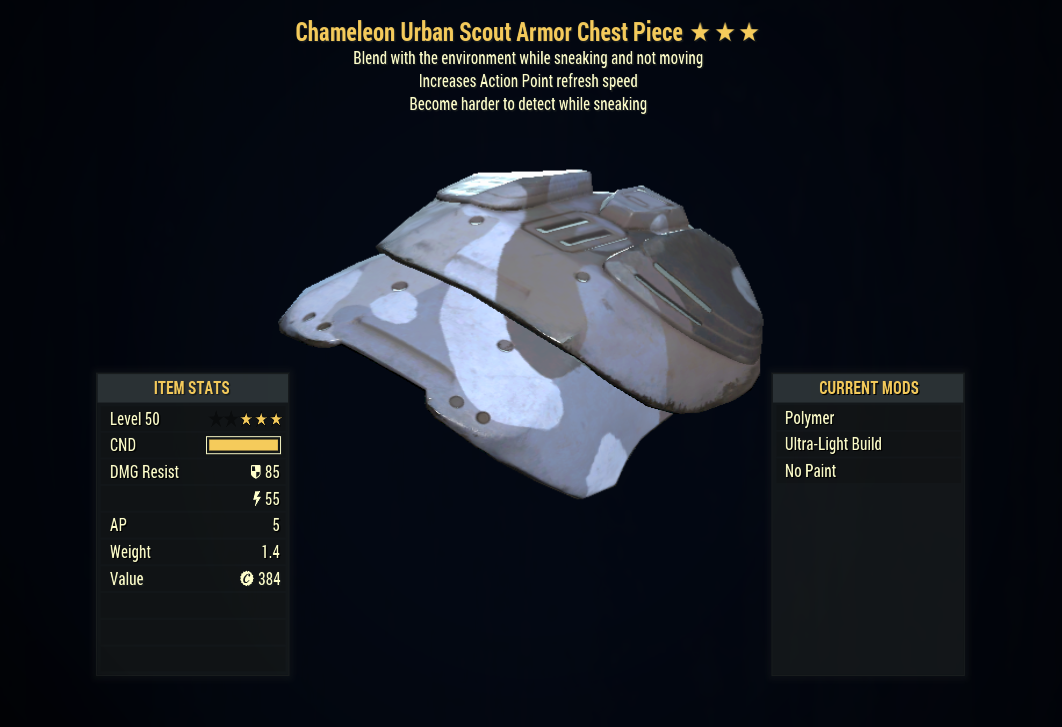 [PC] ✅STEALTH BUILD✅ Unyielding & Sneak & Chameleon Armor FULL SET + MASK (Urban Scout, 5/5 AP)