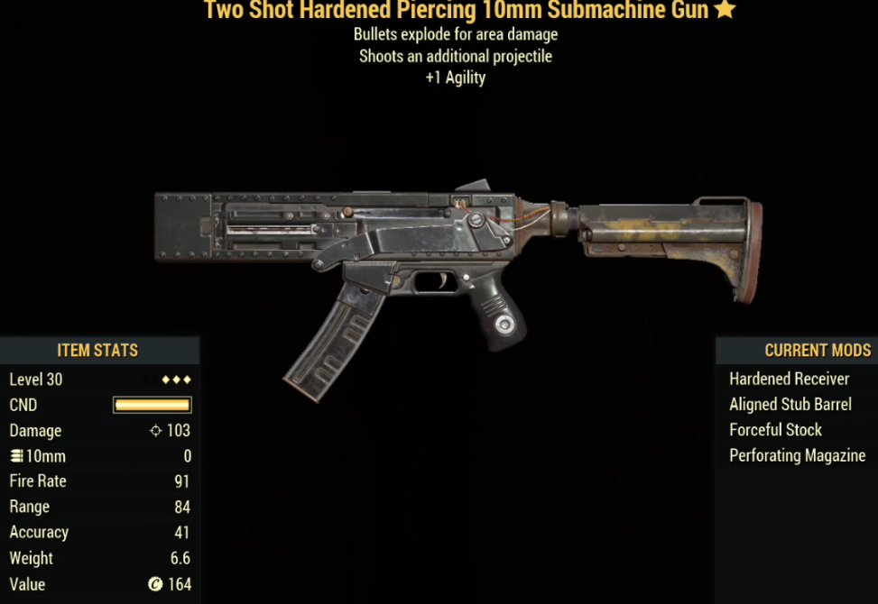 Two Shot Hardened Piercing 10mm Submachine Gun- Level 30