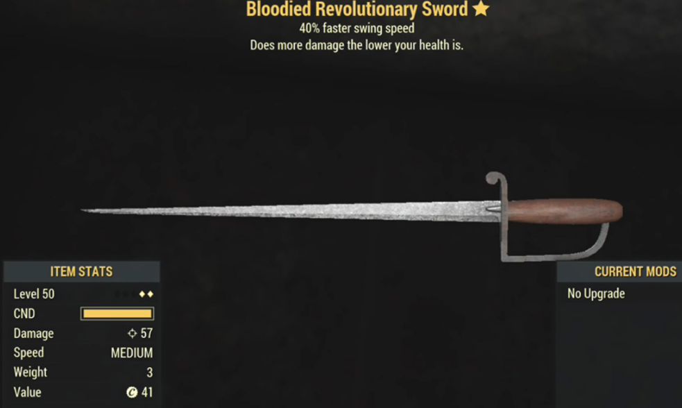 Bloodied Revolutionary Sword- Level 50