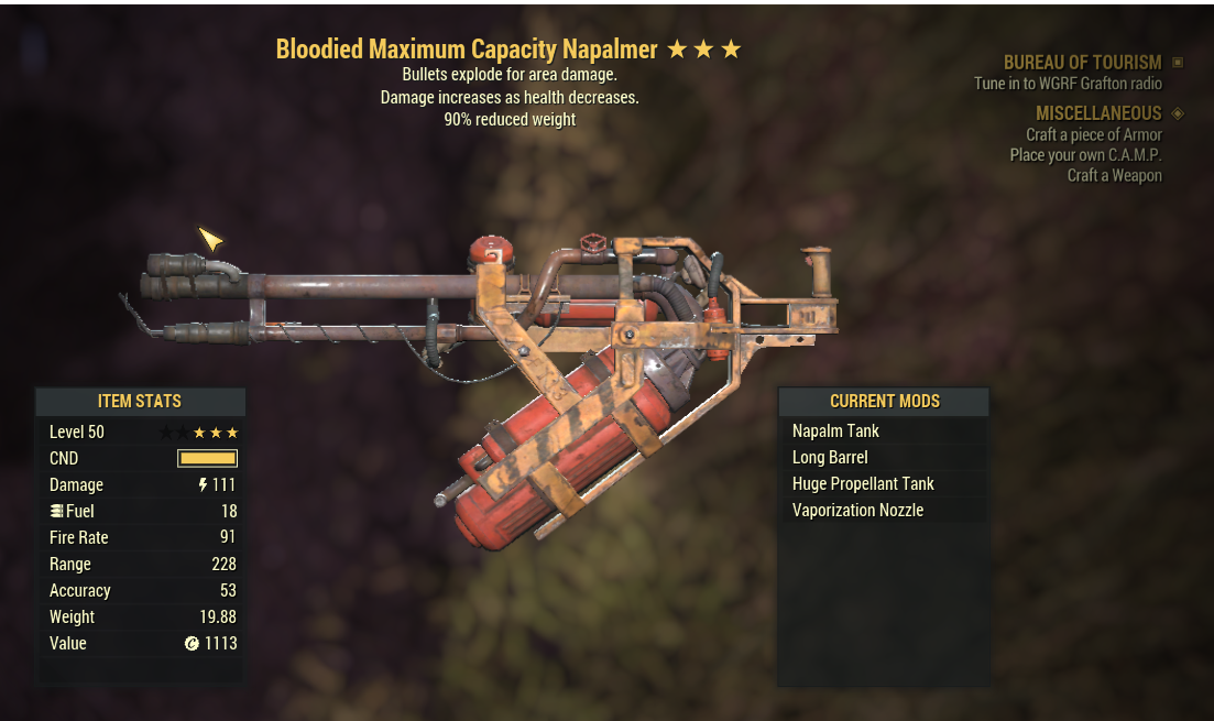 BE90 Bloodied Maximu Capacity Napalmer (Bloodied Explosion and Weapon weight reduced by 20%)