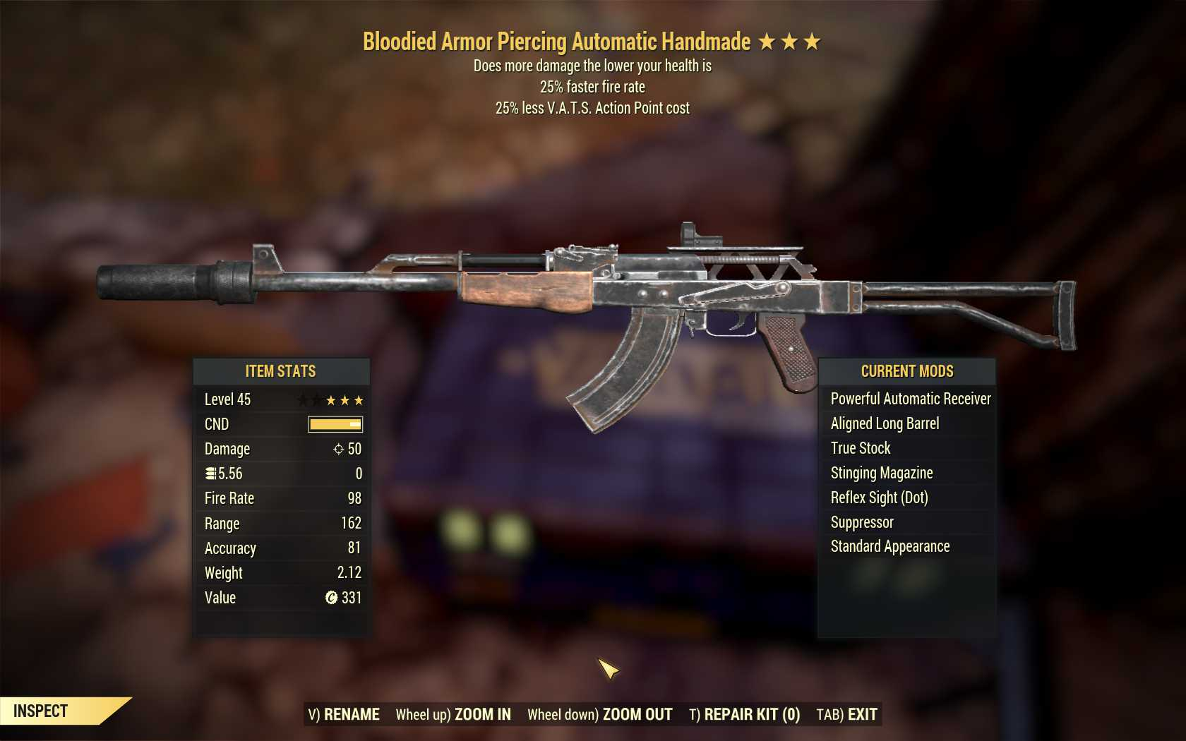 Bloodied Handmade (25% faster fire rate ,25% less VATS AP cost)