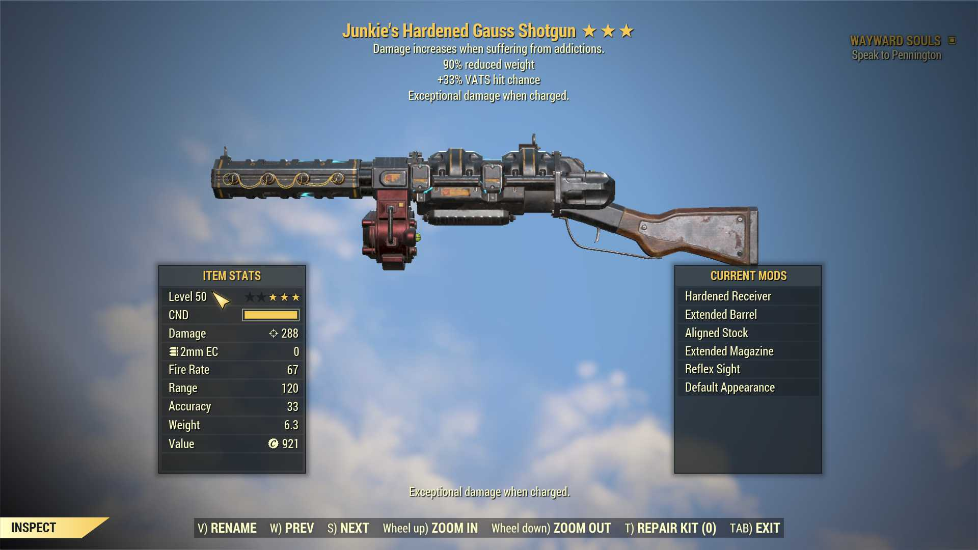 Junkie's Gauss Shotgun (+33% VATS hit chance, 90% reduced weight) FULL MODDED [Wastelanders]