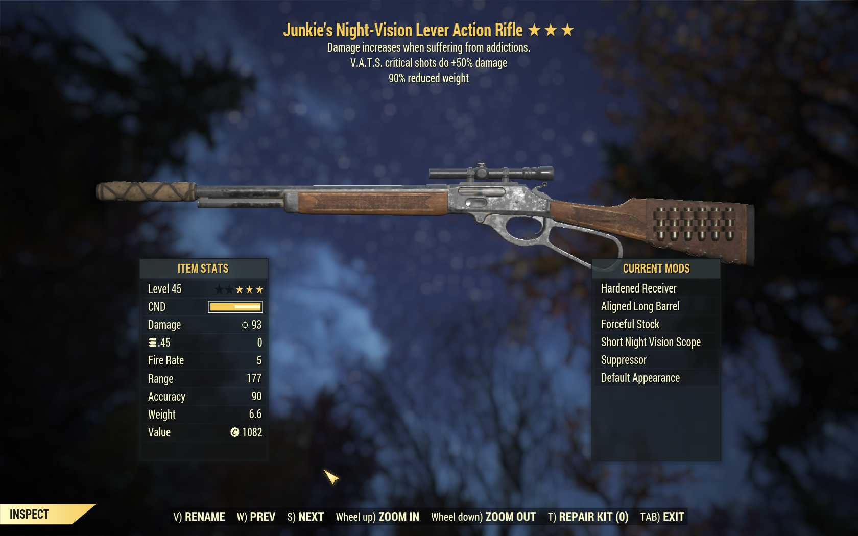 Junkie's Lever Action Rifle (+50% critical damage, 90% reduced weight)