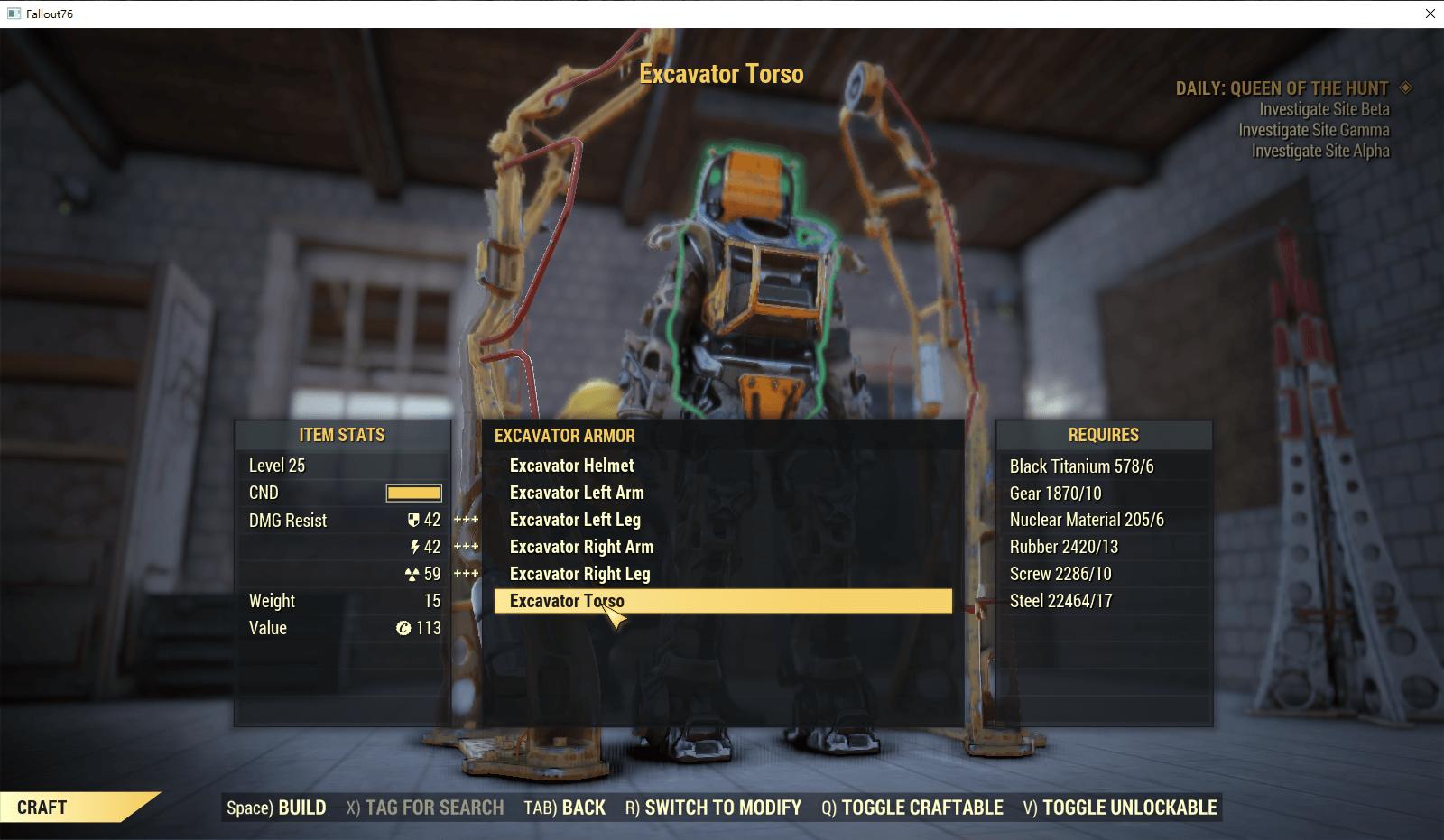 Full set Excavator Armor(6/6 pieces)