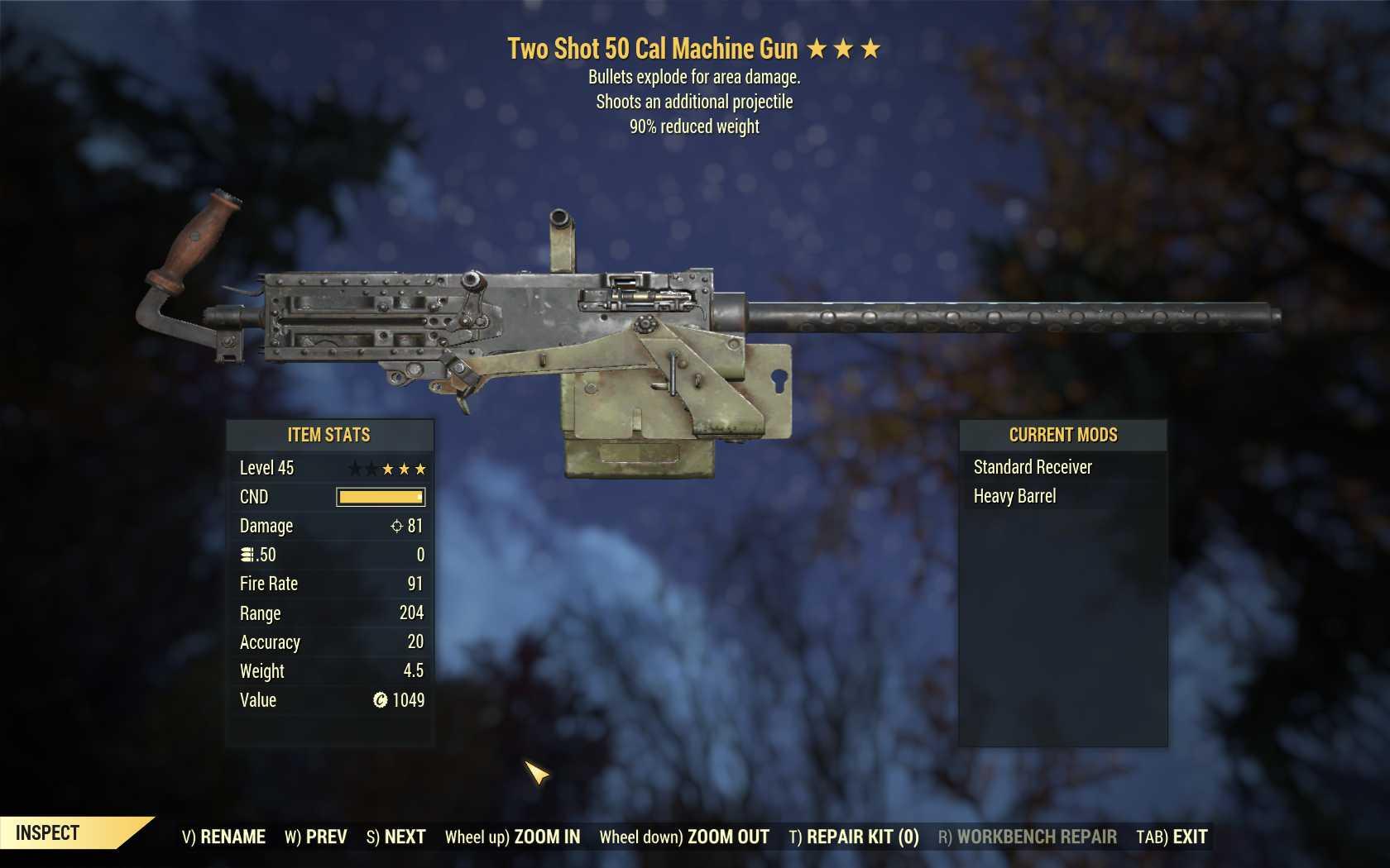 Two Shot Explosive 50 Cal Machine Gun (90% reduced weight)