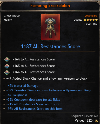 PERFECT Heavy Chest | +1187 All Resist | +45% Material DMG | +39% TTD | +39% CDR | +82 Toughness