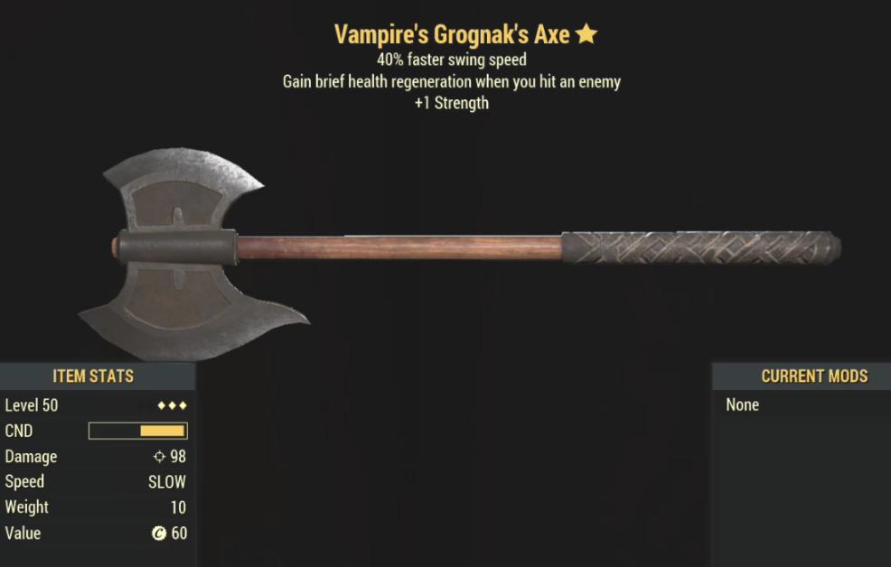 Vampire's Grognak's Axe- Level 50