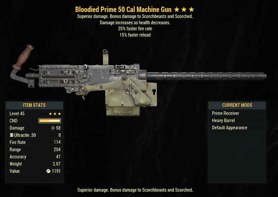 Bloodied 25% Fire Rate Machine Gun [15% Reload]