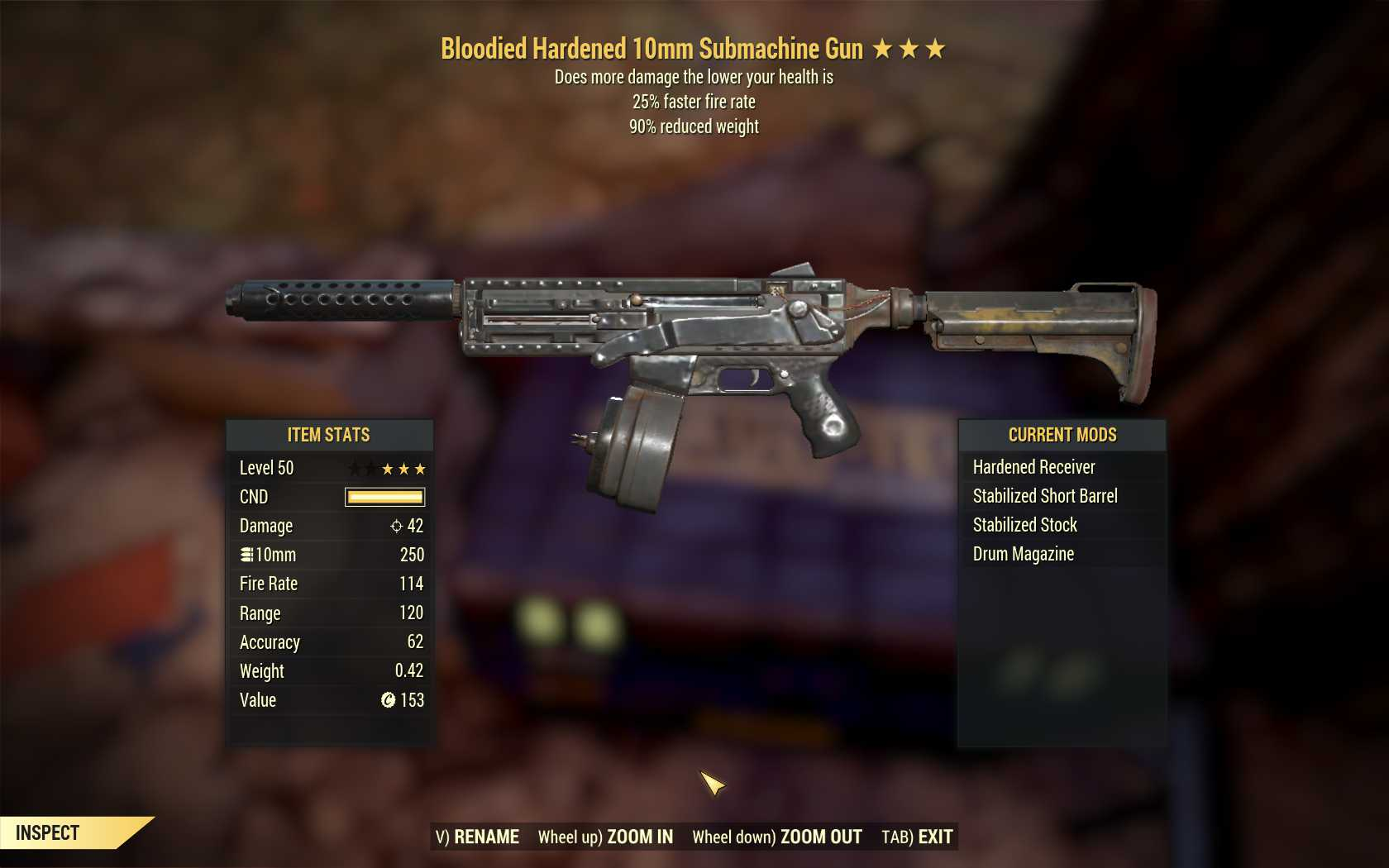 [3 Stars]Bloodied 10mm Submachine Gun+25% faster fire rate+90% reduced weight