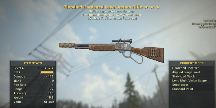 Bloodied Explosive Lever Action Rifle  + 25% less VATS