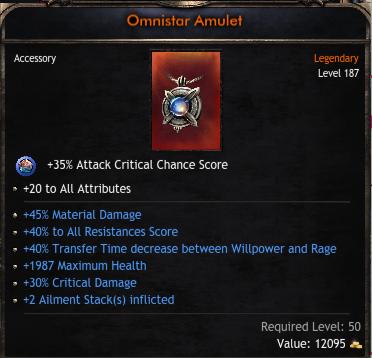 Best Amulet, 20 Attributes, 30% Critical Damage, 45% Material Damage, 40% Transfer Decrease, 40% Res