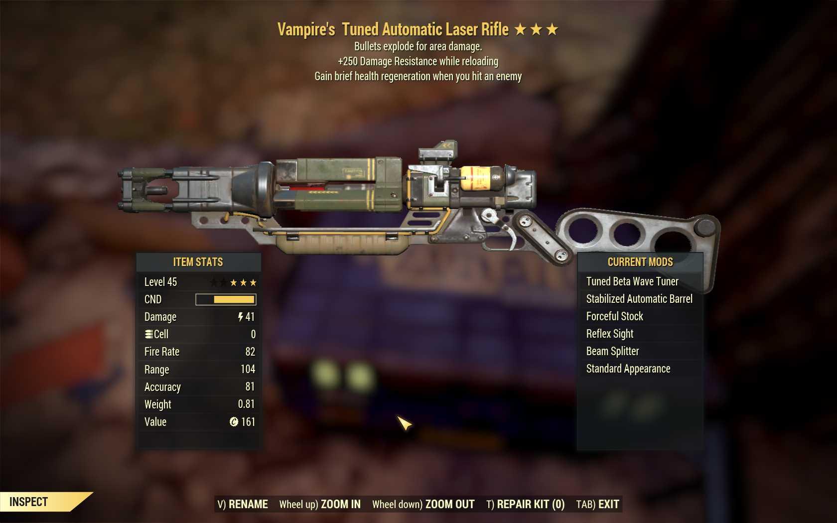 [3 Stars]Vampire's+Explosive Laser rifle+250 Damage Resistance WR