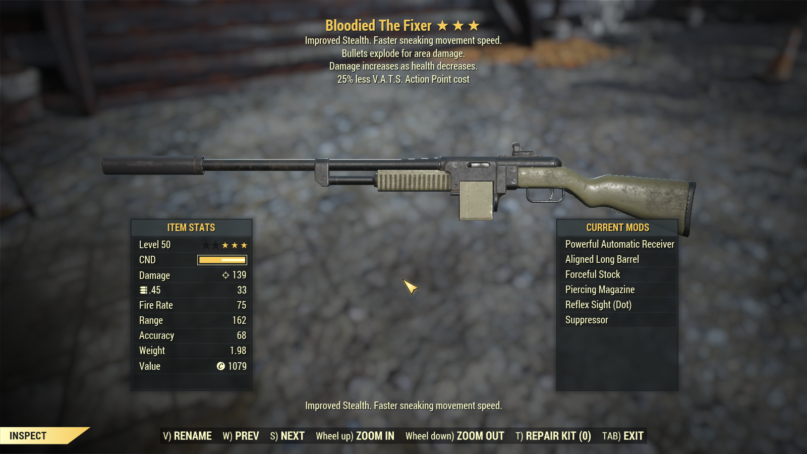Bloodied Explosive The Fixer VATS 25%