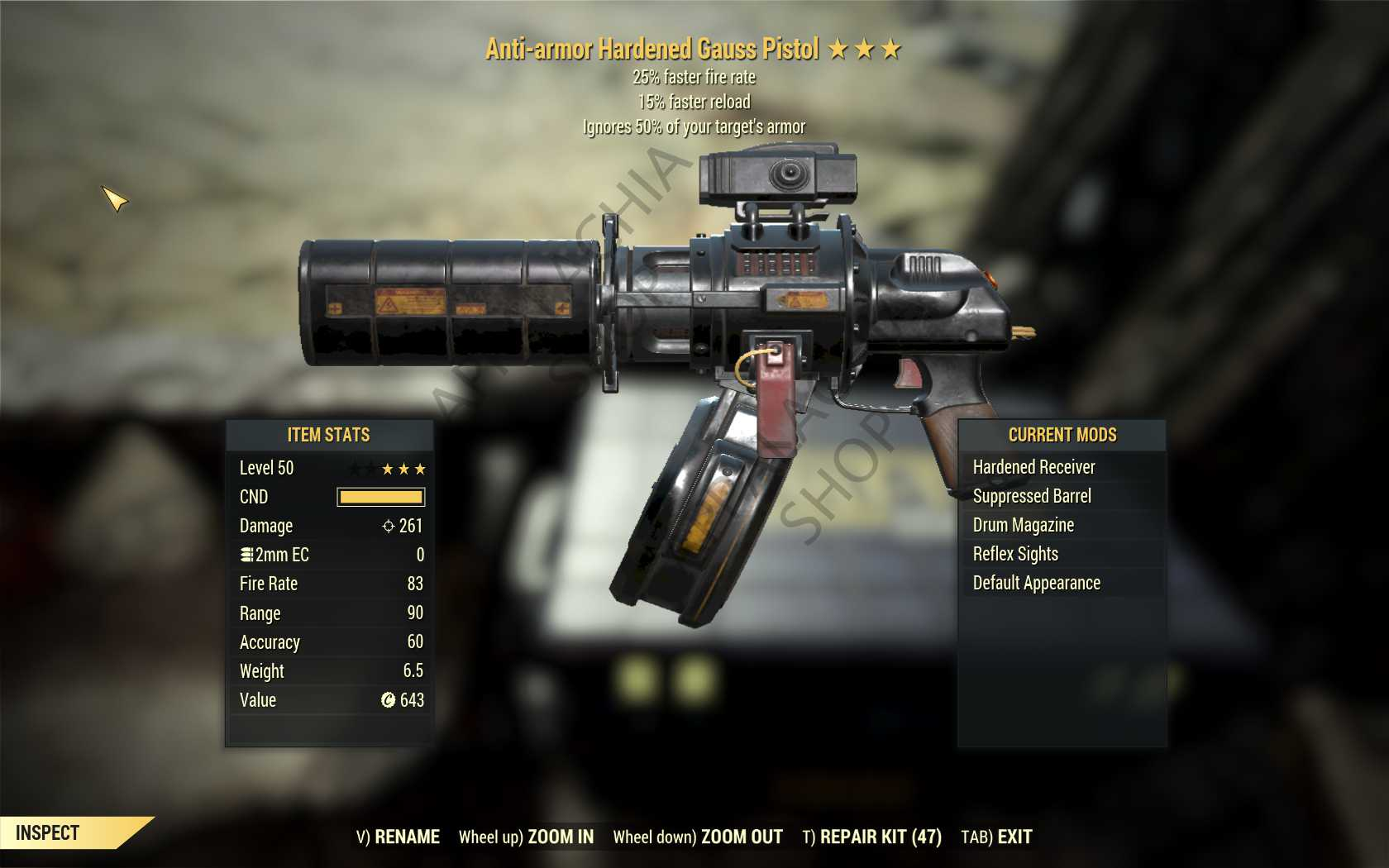 Anti-Armor Gauss Pistol (25% faster fire rate, 15% faster reload) FULL MODDED [Wastelanders]