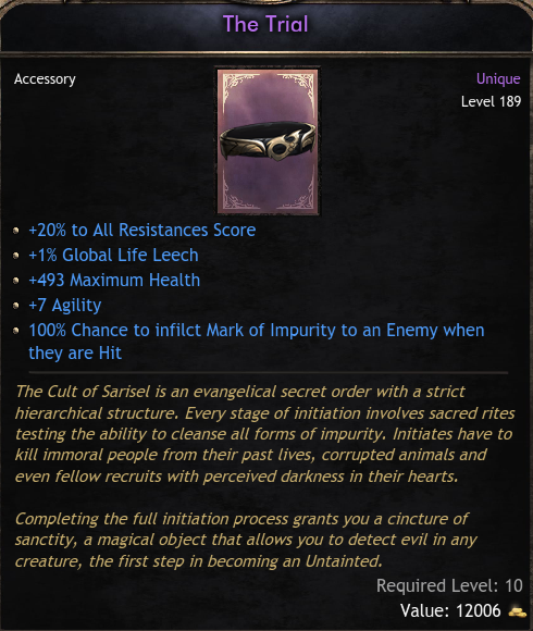 ★★★THE TRIAL ILVL 189 (BEST BELT IN THE ENTIRE GAME) - INSTANT DELIVERY (5-10 mins) ★★★