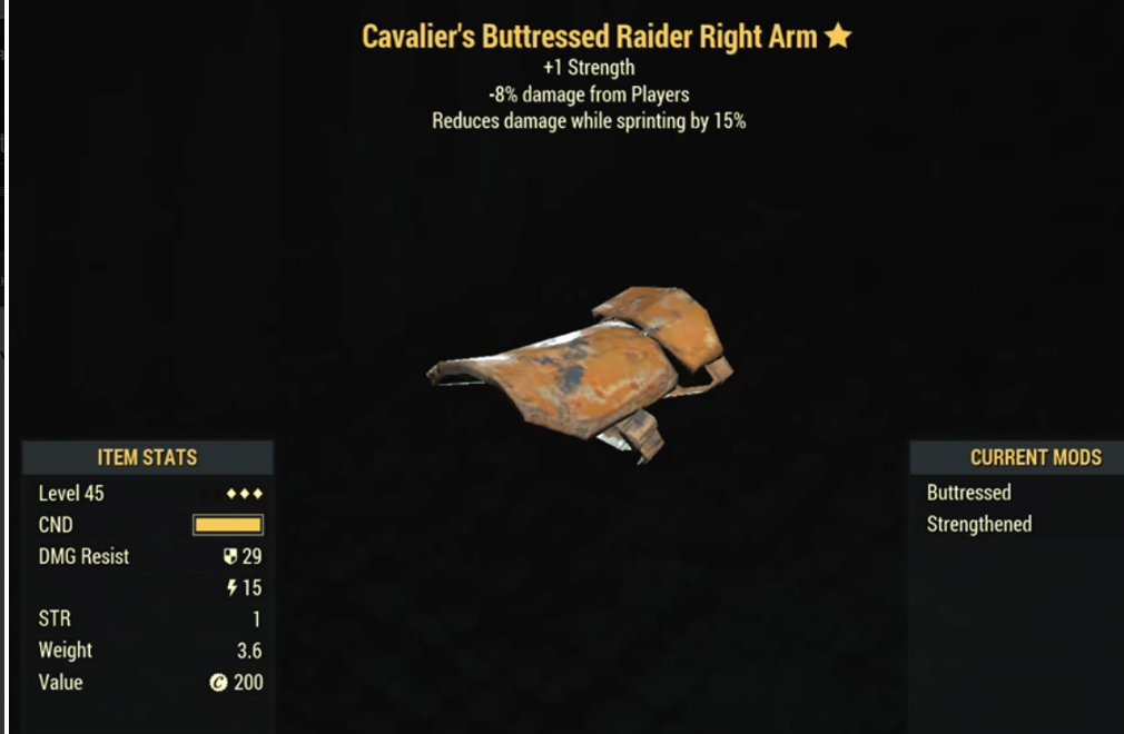 Cavalier's Buttressed Raider Right Arm- Level 45 (-8% damage Form Players)