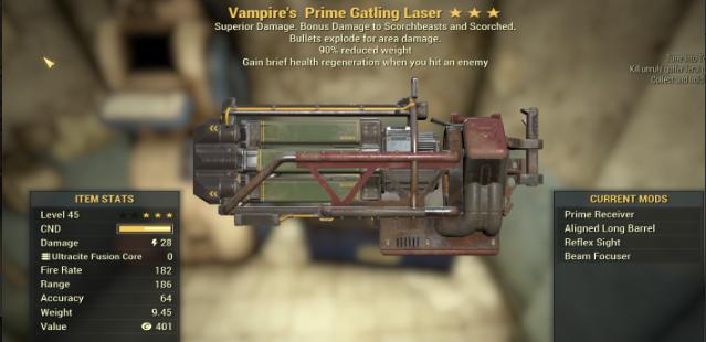 Vampire's Explosive Gatling Laser [90% Weight RD]