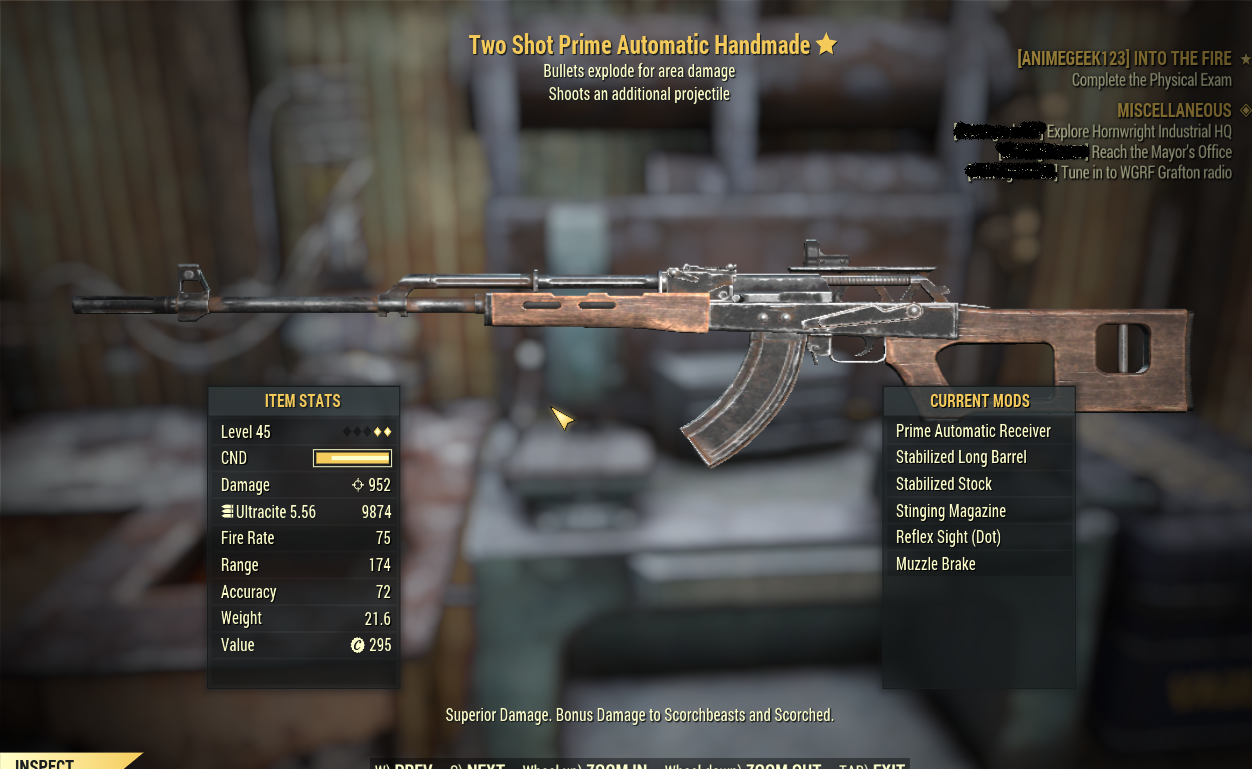☆ 952 dmg PRIME AUTOMATIC HANDMADE ☆ Explosive + Two-shot  Insane