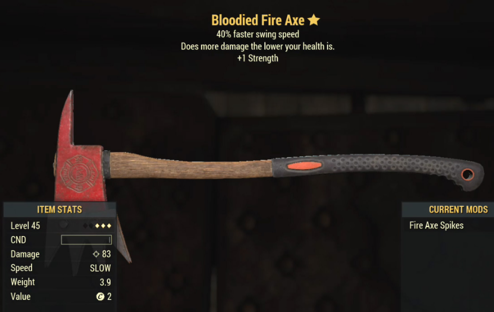 Bloodied Fire Axe- Level 45