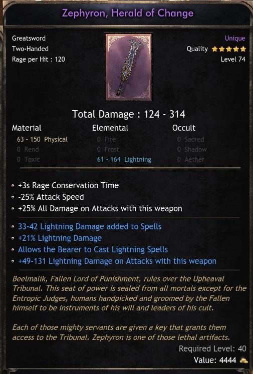 Unique Sword Zephyron Herald of Change