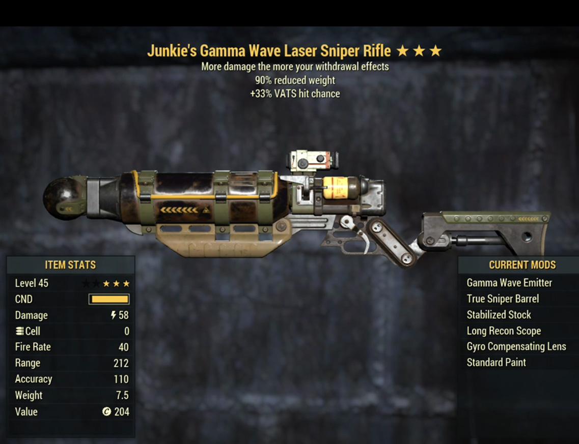 Junkie's Gamma Wave Laser Sniper Rifle- Level 45