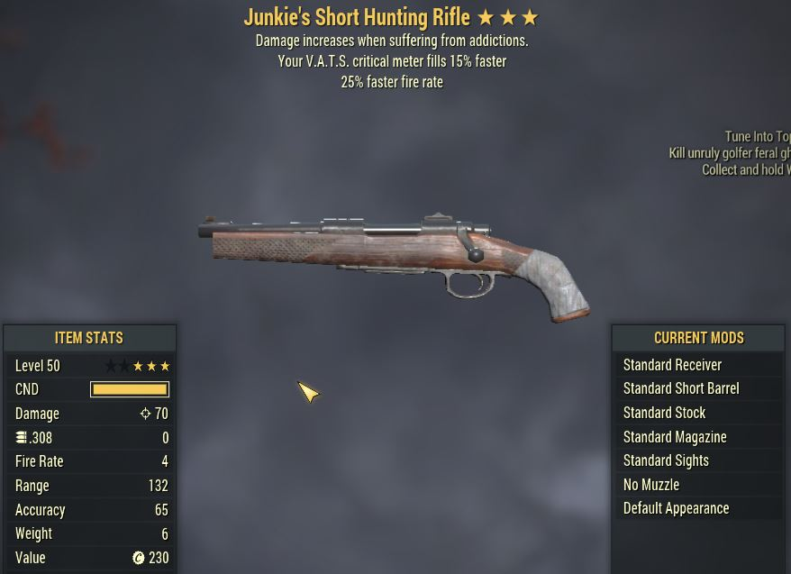 [PC] Junkie's Hunting Rifle [25%FFR   15% Faster VATS Crit]