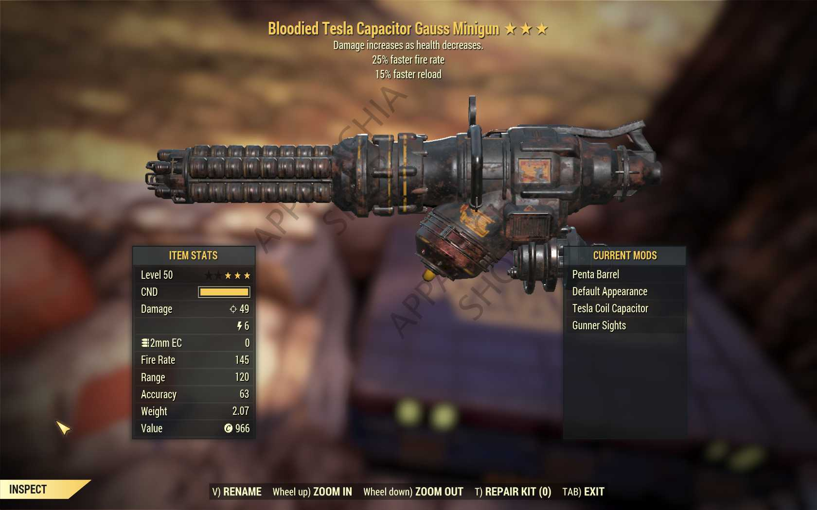 Bloodied Gauss Minigun (25% faster fire rate, 15% faster reload) FULL MODDED [Wastelanders]