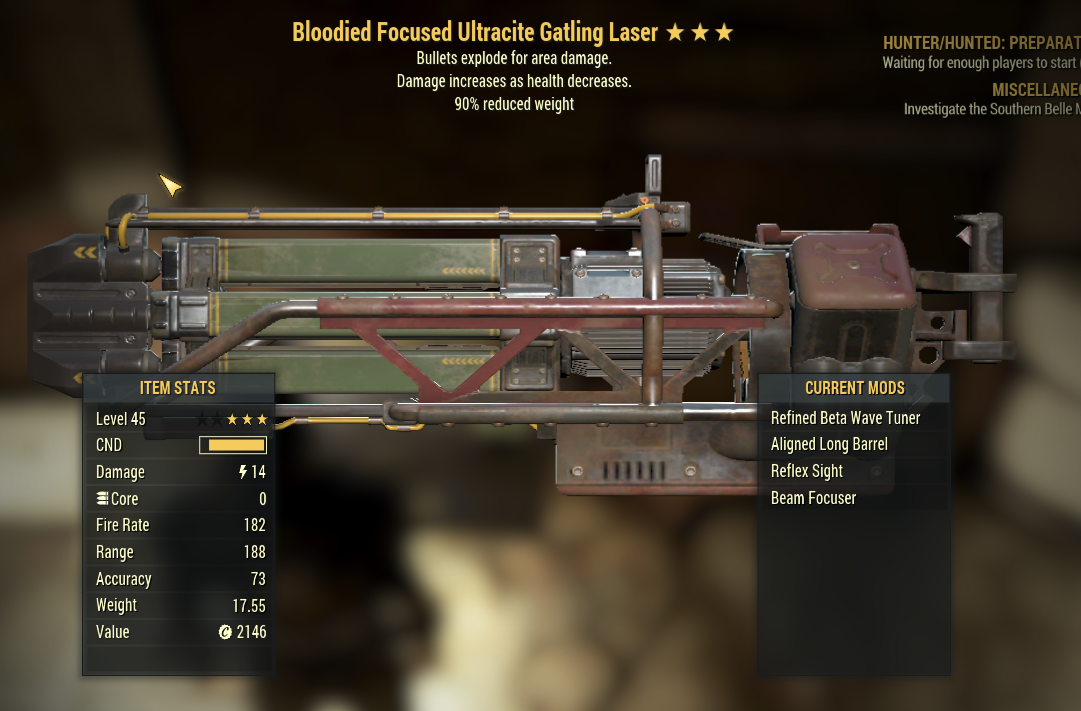 3 Stars Bloodied Ultracite Gatling Laser + Bullets Explode +90% reduced weight