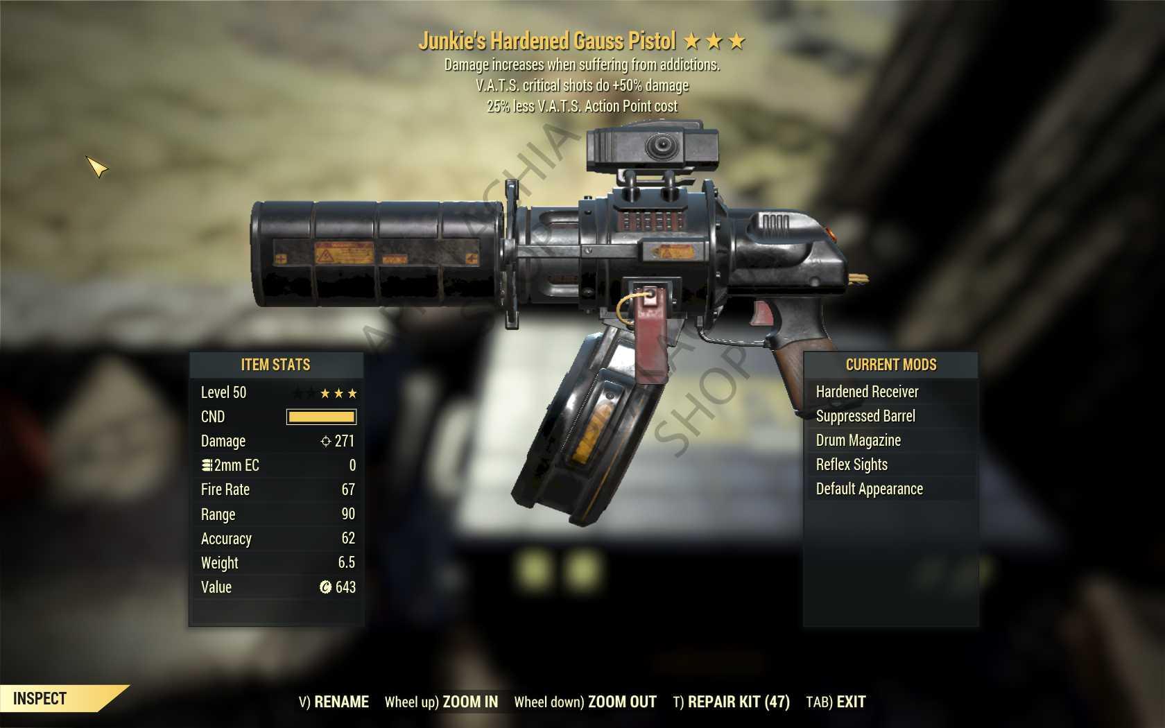 Junkie's Gauss Pistol (+50% critical damage, 25% less VATS AP cost) FULL MODDED [Wastelanders]