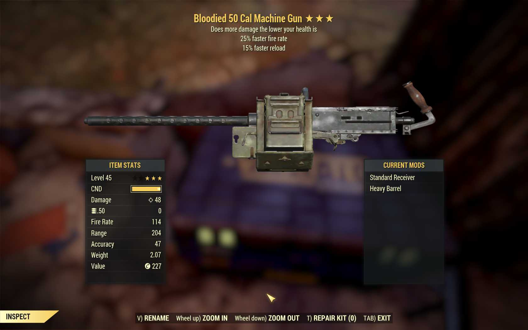 Bloodied 50 Cal Machine Gun (25% faster fire rate, 15% faster reload)