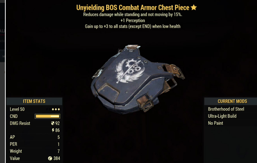 Unyielding BOS Combat Armor Chest Piece- Level 50 (Sentinel's)