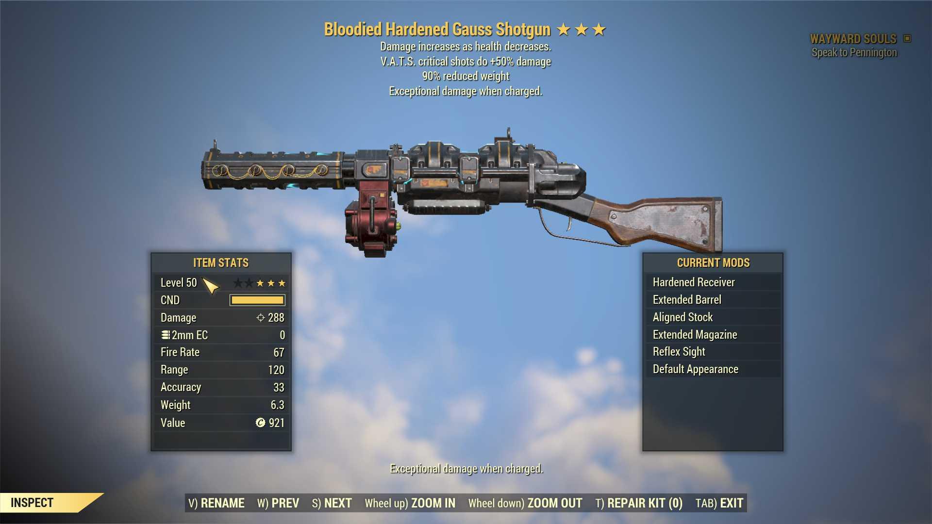 Bloodied Gauss Shotgun (+50% critical damage, 90% reduced weight) FULL MODDED [Wastelanders]