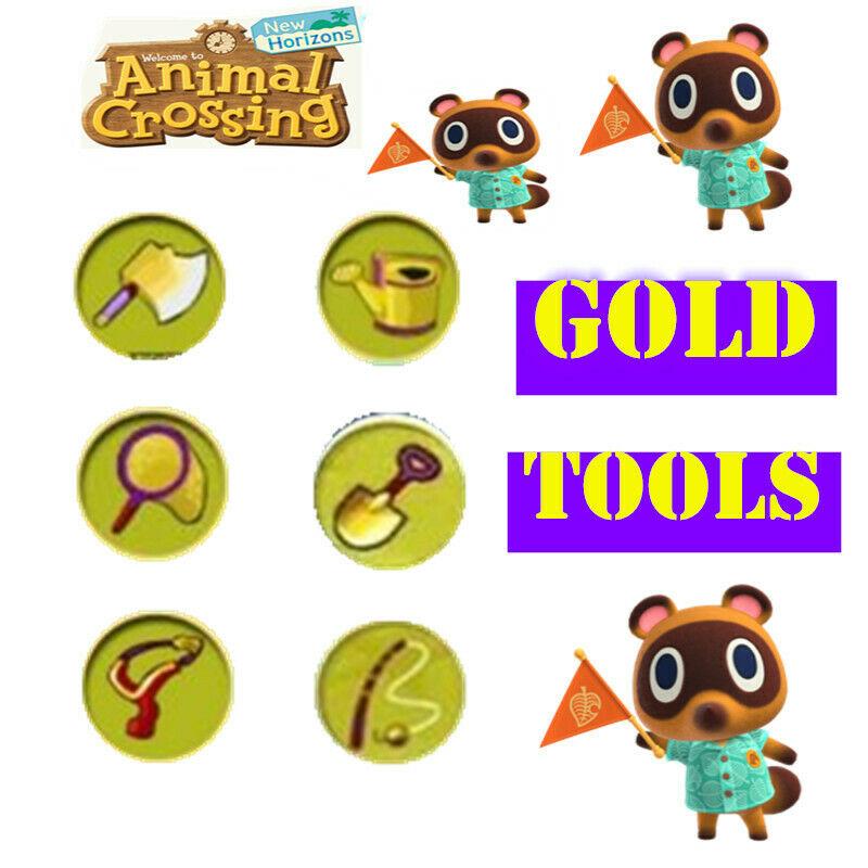 Animal Crossing New Horizons Golden Tools Set all 6 Gold Tools
