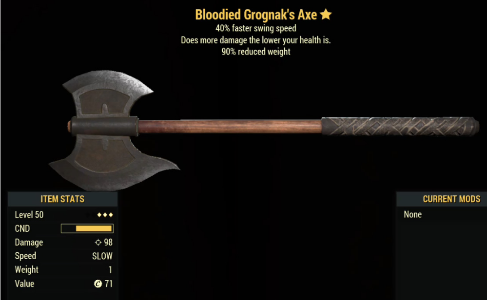 Bloodied Grognak's Axe- Level 50