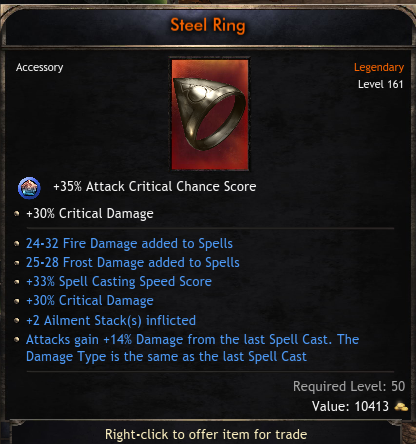 Mage Set Ring with 60% Critical Damage, 2 Spells, +2 Ailment Stacks, 14% Damage From Last Skill