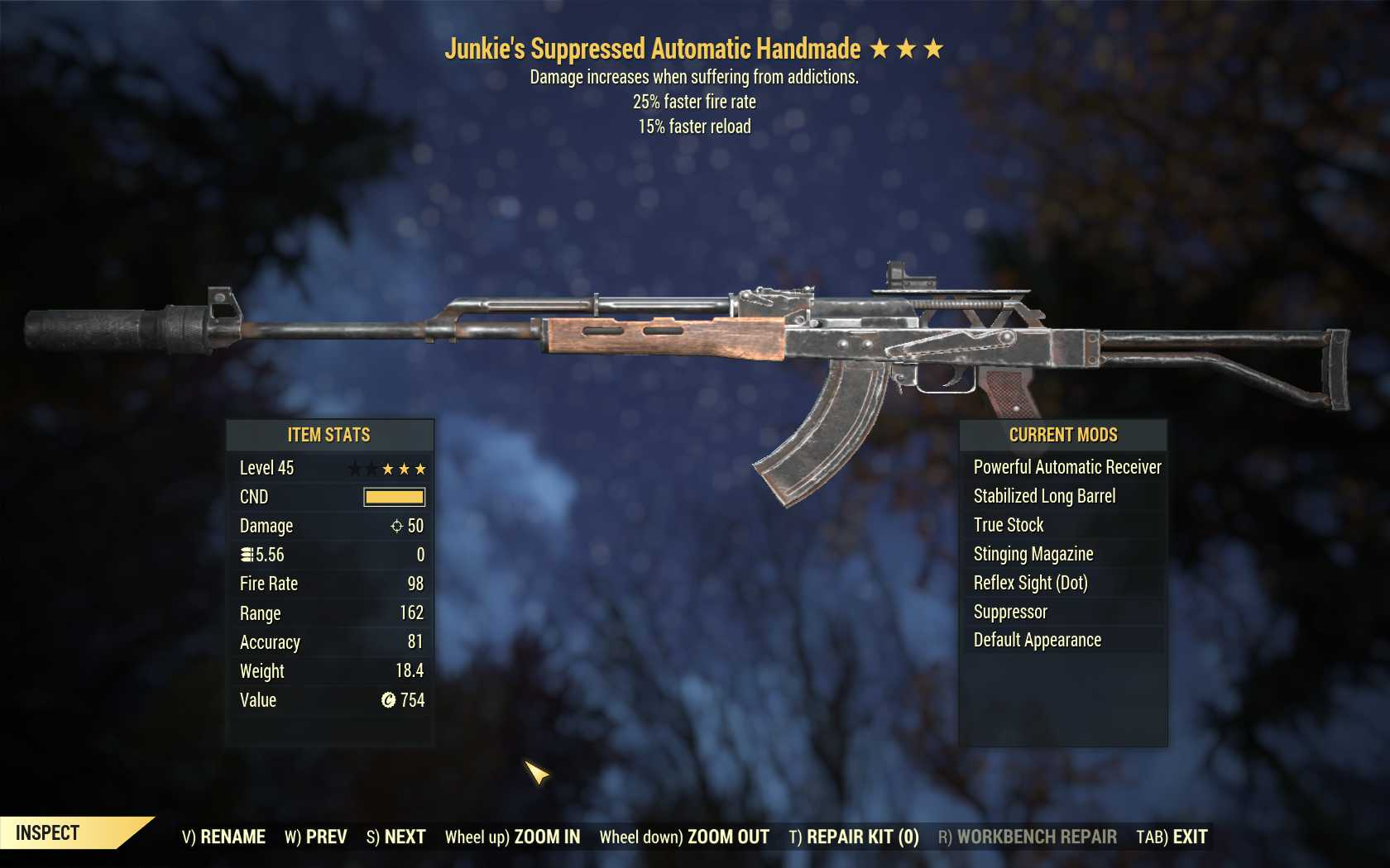 Junkie's Handmade (25% faster fire rate, 15% faster reload)