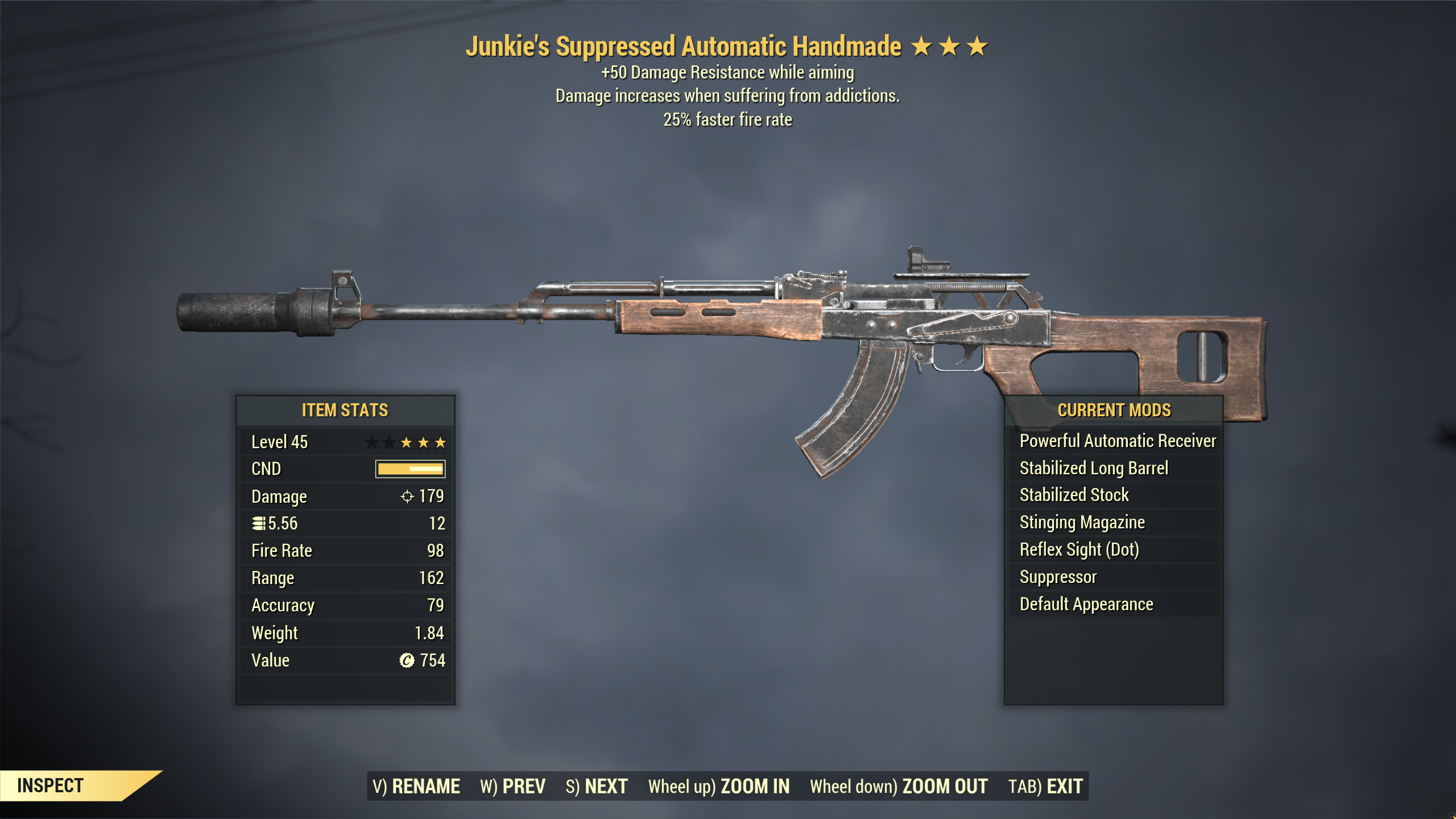 ★★★ Junkies Handmade[25% Faster Fire][+50 Damage Resistance] | FAST DELIVERY |