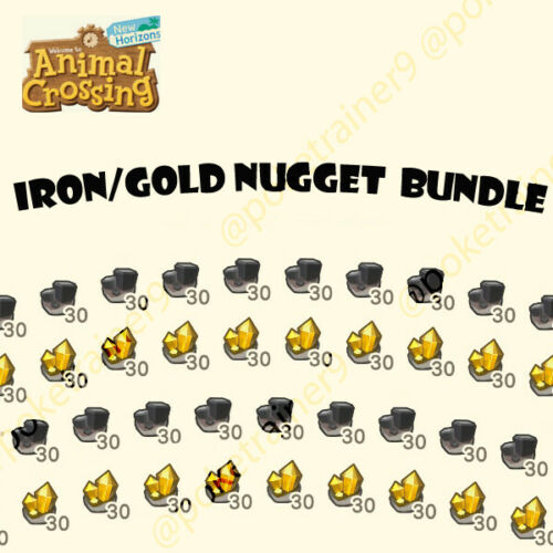 Animal Crossing New Horizons Materials 300 Iron Nuggets & 300 Gold Nuggets