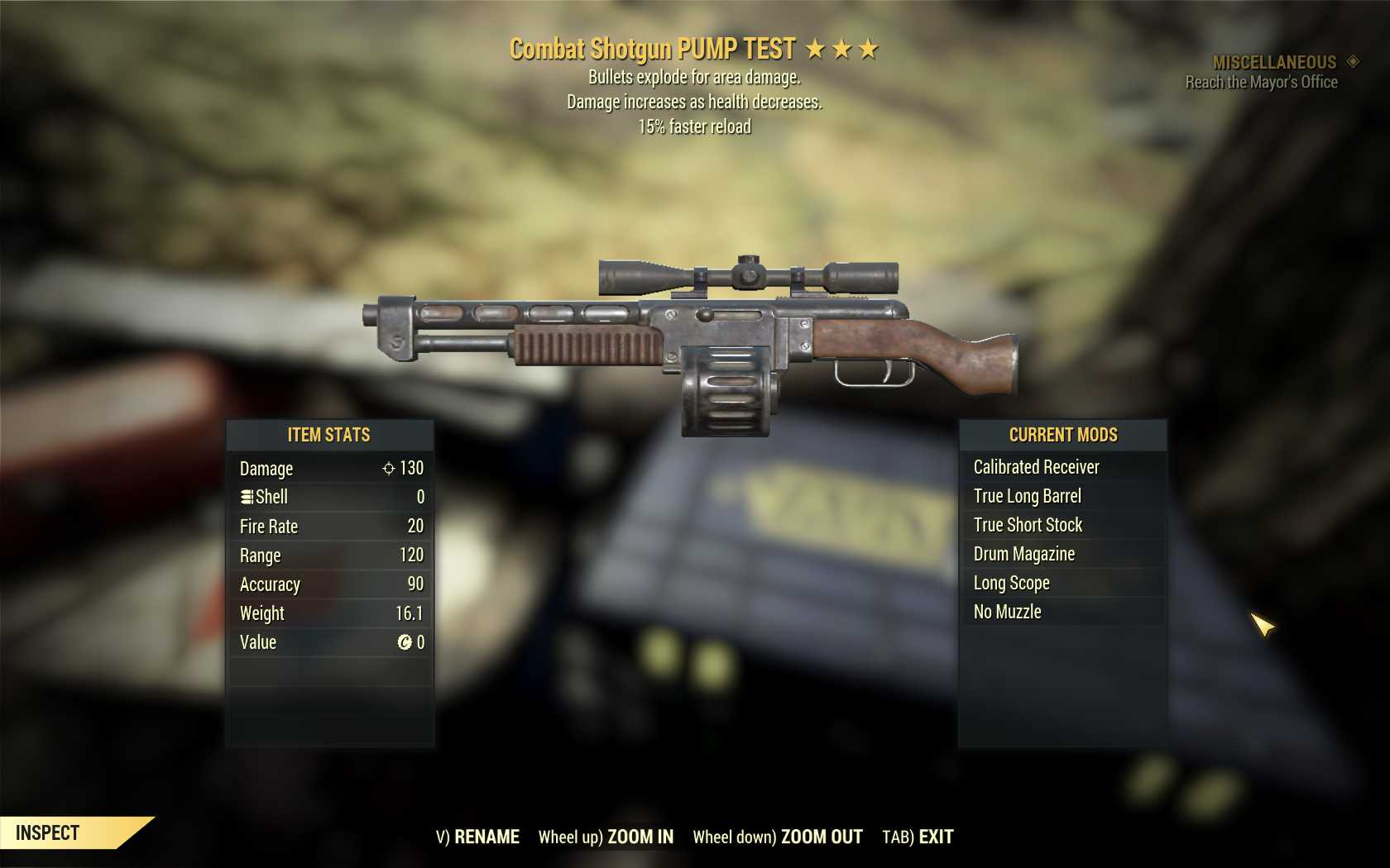 [Glitched weapon, Unbreakable] Bloodied Explosive Combat Shotgun (15% Faster Reload) [600+ DMG]