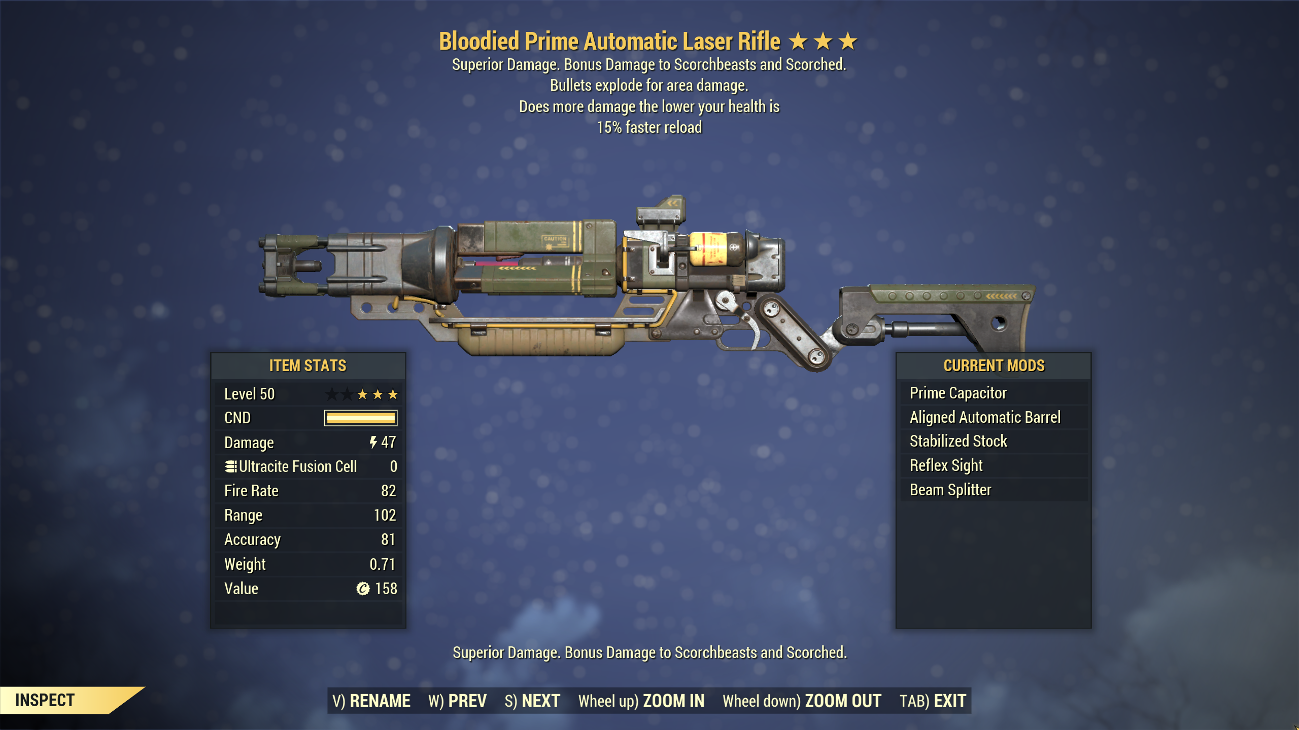 [Legacy] ★★★ Bloodied Explosive Laser Rifle[15% Faster Reload] | PRIME | FULLY MODIFIED | FAST DELIV