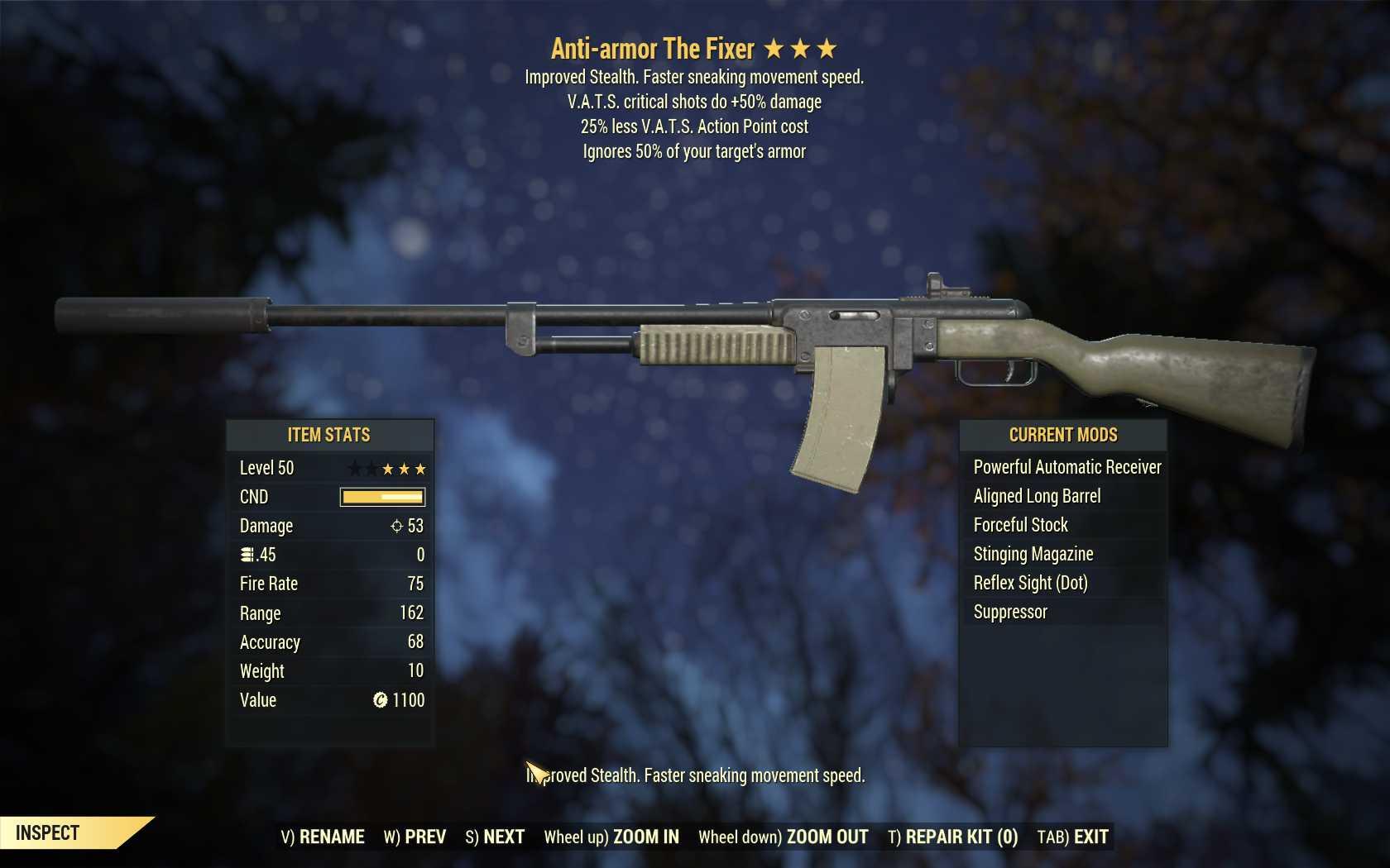 Anti-Armor The Fixer (+50% critical damage, 25% less VATS AP cost)