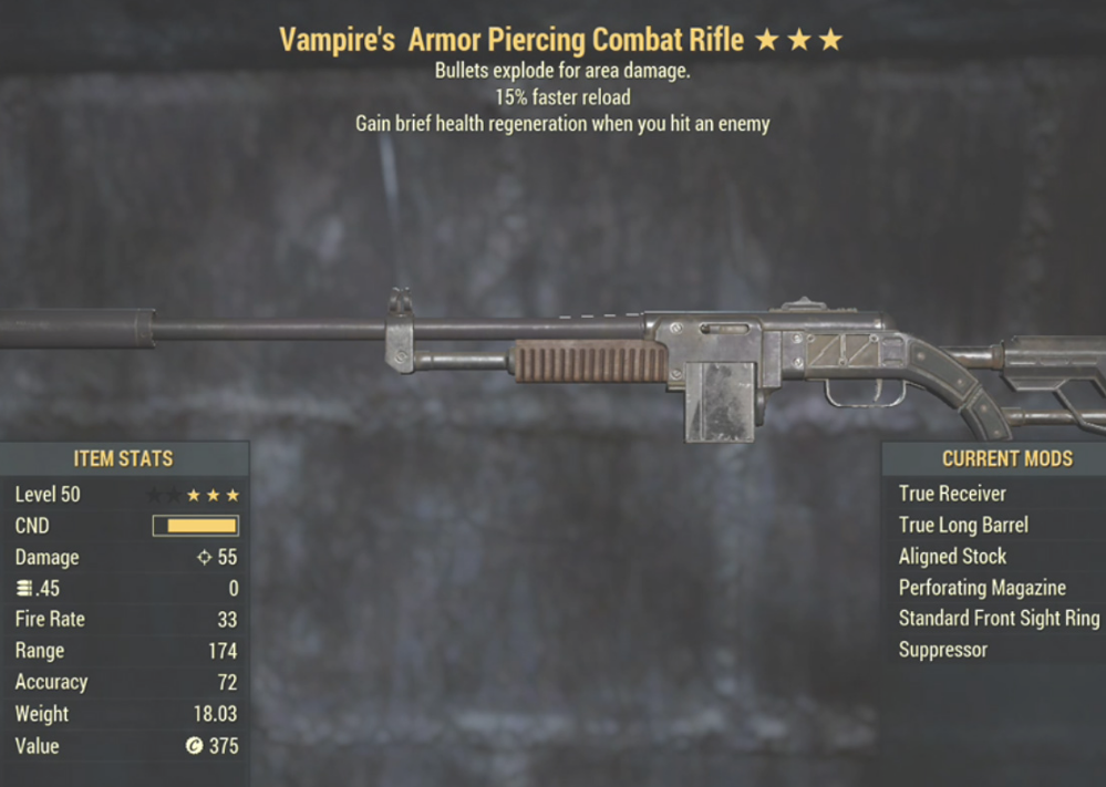 Vampire's Armor Piercing Combat Rifle- Level 50