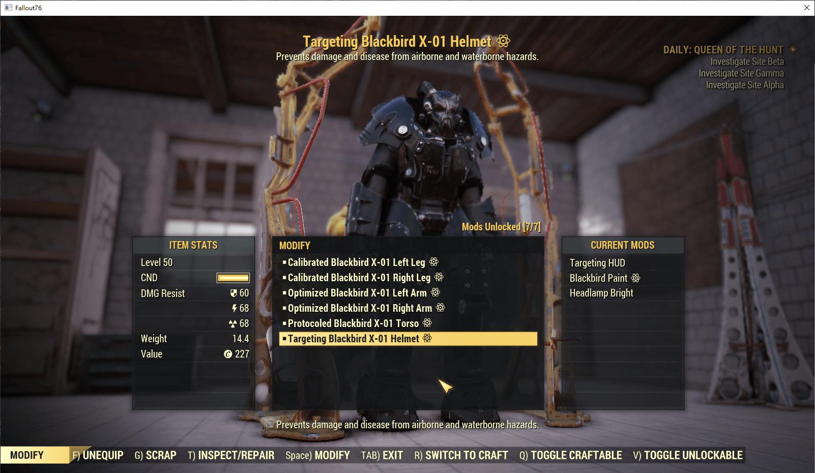 Full set Optimized X-01 Armor(6/6 pieces)