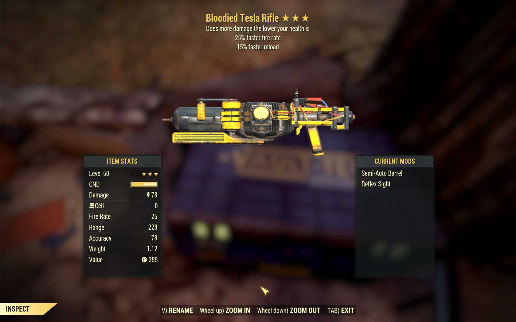 Bloodied Tesla Rifle (25% faster fire rate, 15% faster reload)